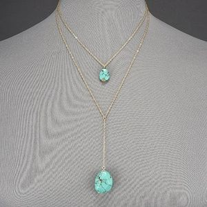 Jewelry - Bohemian Gold Double Layered Turquoise Necklace
